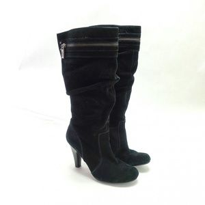 Guess Women's Peter Suede Slouch Black Heel Boots